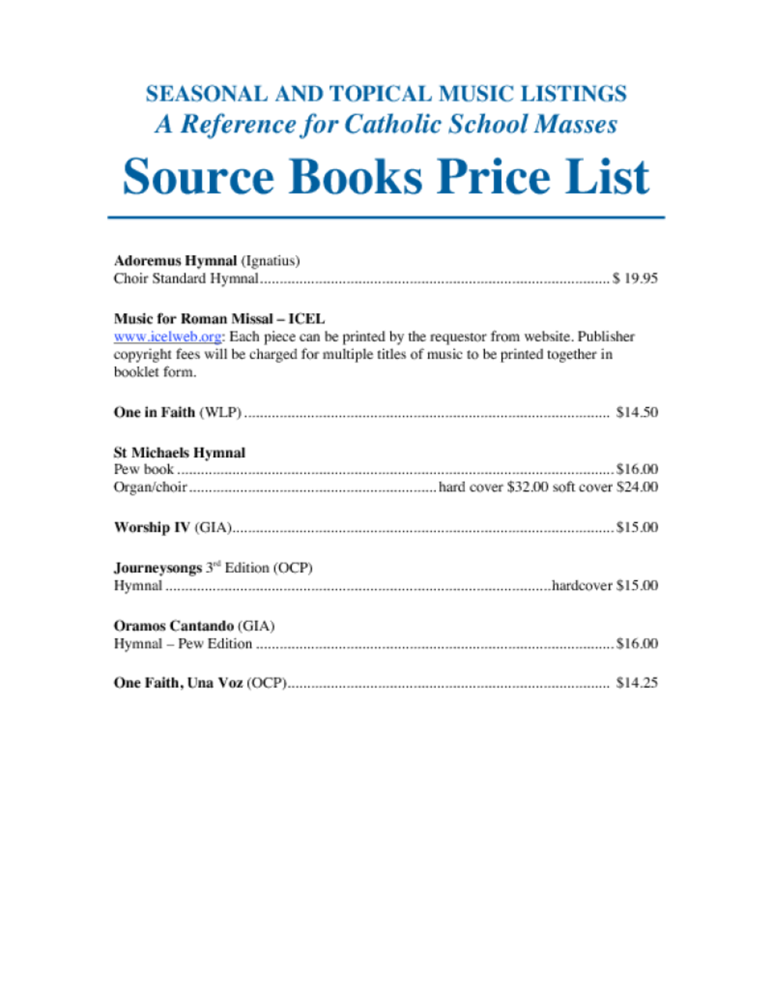 Source Book Price List | American Federation Pueri Cantores